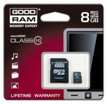 Kart pamięci microSDHC 8 GB class 10 + adapter SDU8GHC10AGRR9