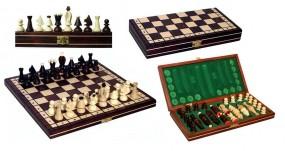 Szachy 1019 drewniane, brązowe, 32x32x4.5 cm KING'S , nr art. 1019