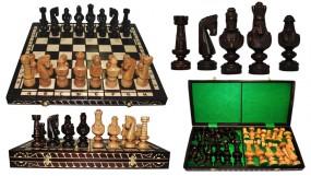Szachy CEZAR MAŁY, drewniane, brązowe, 59x29.5x7 cm art.3103