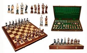 Szachy SPARTAKUS, drewniane, brązowe, kamienne figury, 59x29.5x7 cm, art.3156
