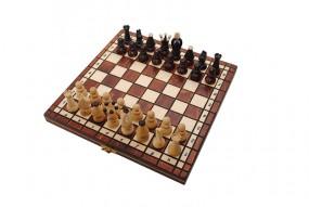 Szachy 1068 + warcaby + backgammon drewniane, brązowe, 28x14x3.8 cm nr art.1068