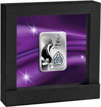 Luksusowa srebrna moneta z Diamentem